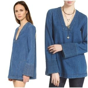 Free People Dreaming of Denim Cotton Tunic Small